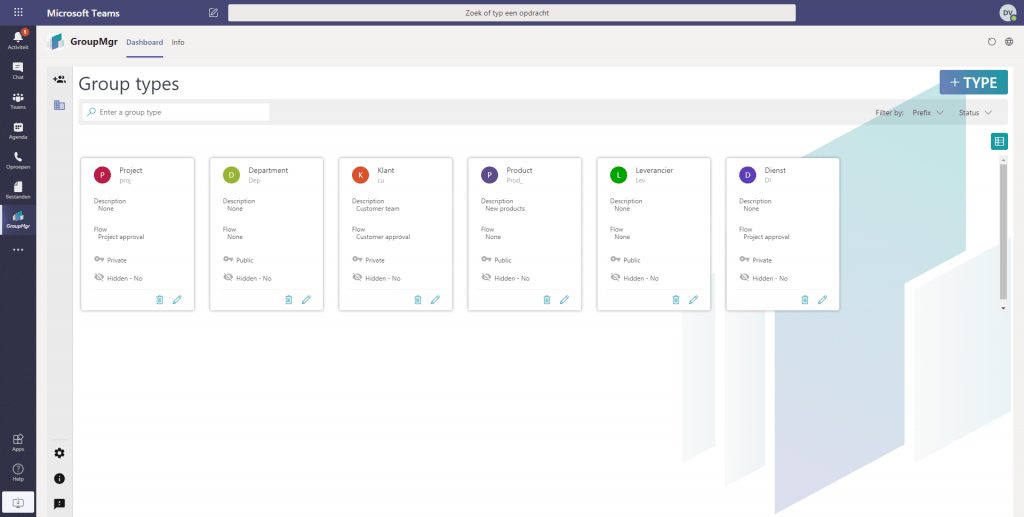 Group Manager / GroupMGR Screenshot Teams: Group types card view